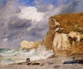 Etretat: the Amont Cliff in November - Eugène Boudin