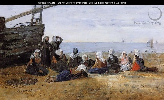Berck, Group of Fishwomen Seated on the Beach - Eugène Boudin