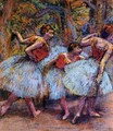 Three Dancers, Blue Skirts, Red Blouses - Edgar Degas