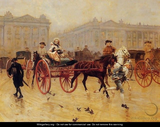 Elegant Figures in the Place de la Concorde - Charles Edouard Edmond Delort