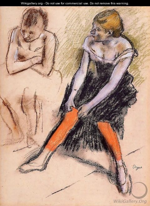 Dancer with Red Stockings - Edgar Degas