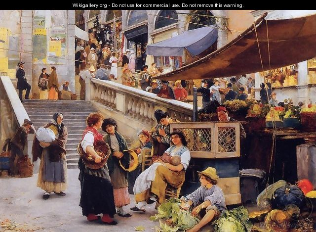 At the Foot of the Rialto, Venice - Henry Woods