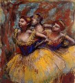 Three Dancers: Yellow Skirts, Blue Blouses - Edgar Degas