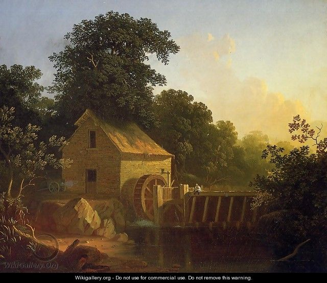 Landscape with Waterwheel and Boy Fishing - George Caleb Bingham