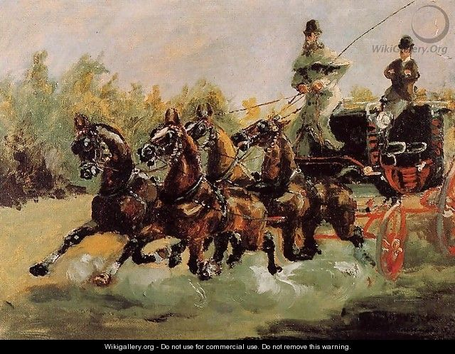 Alphonse de Toulouse-Lautrec Driving His Four-in-Hand - Henri De Toulouse-Lautrec