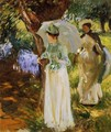 Two Girls with Parasols at Fladbury - John Singer Sargent