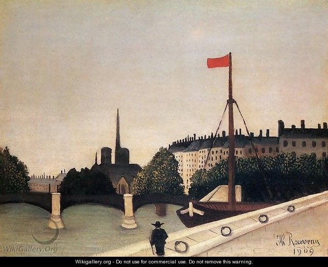 Notre Dame: View of the Ile Saint-Louis from the Quai Henri IV - Henri Julien Rousseau