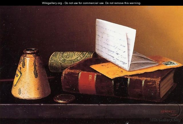 Still Life with Ink Bottle, Book and Letter - William Michael Harnett