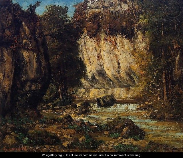 River and Cliff - Gustave Courbet