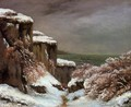 Cliffs by the Sea in the Snow - Gustave Courbet