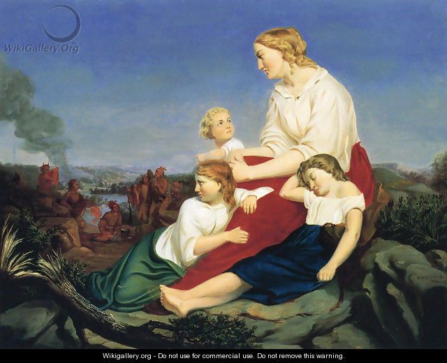Woman and Children, with Indian Massacre in the Background - Trevor McClurg