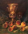 Still Life with Peaches and Marble Vase - William Mason Brown