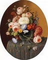 Floral Arrangement in a Glass Vase on a Clothed Table - Severin Roesen