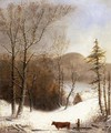 Winter Landscape with Log Cart - George Henry Durrie