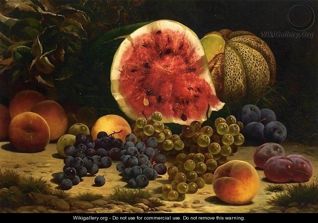 Still Life with Watermelon, Grapes, Peaches, Plums and Plums - William Mason Brown