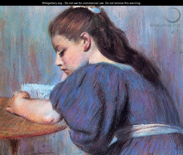 Young Girl Reading 2 - Federigo Zandomeneghi