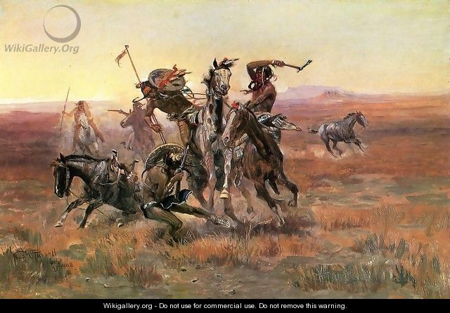 When Blackfeet and Sioux Meet - Charles Marion Russell