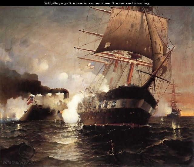 "Sinking of the ""Cumberland"" by the ""Merrimack"" - Edward Moran"