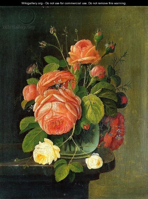 Roses on a Tabletop - Severin Roesen