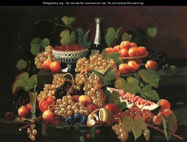 Still Life with Fruit and Champagne I - Severin Roesen