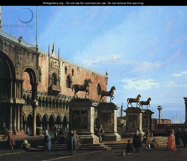 Capriccio With the Four Horses From the Cathedral of San Marco - (Giovanni Antonio Canal) Canaletto