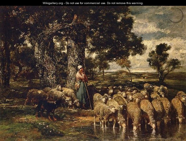 A Shepherdess with Her Flock 2 - Charles Émile Jacque