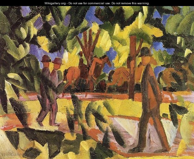 Riders and Strollers in the Avenue - August Macke