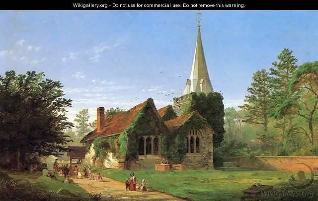The Church at Stoke Poges - Jasper Francis Cropsey