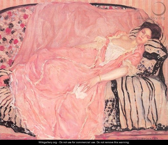 Portrait of Madame Gely (On the Couch) - Frederick Carl Frieseke