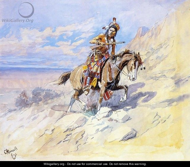 Indian on Horseback - Charles Marion Russell