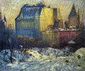 A View of the Plaza from Central Park in Winter - Arthur C. Goodwin