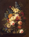 Floral Still Life with Nest of Eggs - Severin Roesen