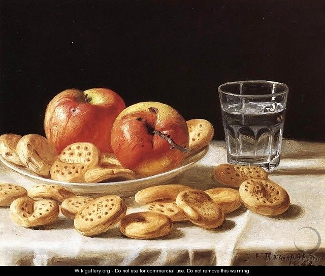 Still Life with Apples and Biscuits - John Defett Francis