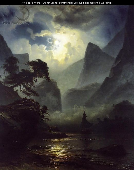 A Norwegian Fjord by Moonlight - Knud (Andreassen) Baade
