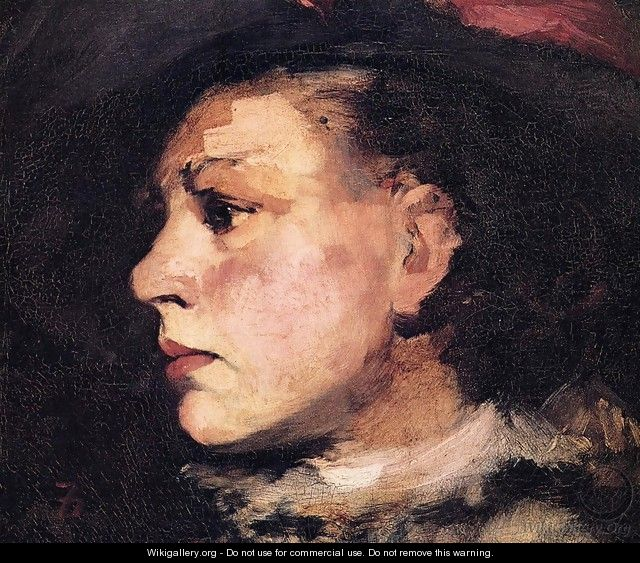 Profile of Girl with Hat I - Frank Duveneck