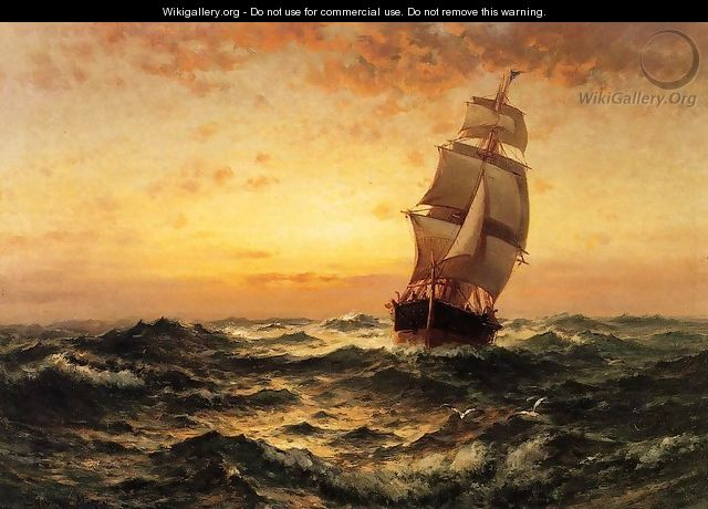 Ship at Sea, Sunset - Edward Moran