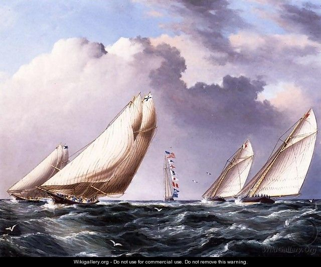 Yachts Rounding the Mark - James E. Buttersworth