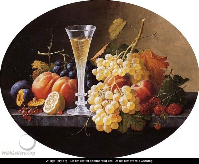 Still Life with Fruits and Wine Glass - Severin Roesen
