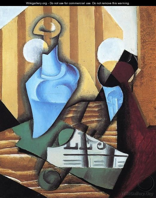 Still Life with Bottle and Glass - Juan Gris