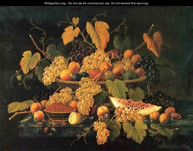 Still Life with Basket of Fruit - Severin Roesen