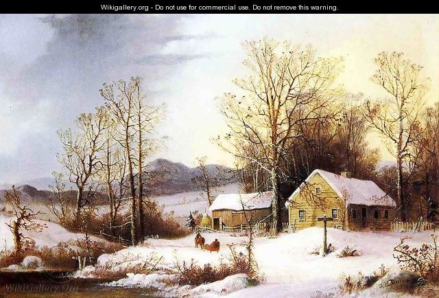 Farmstead in Winter - George Henry Durrie