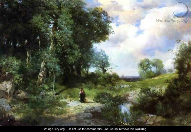 Young Girl in a Long Island Landscape - Thomas Moran