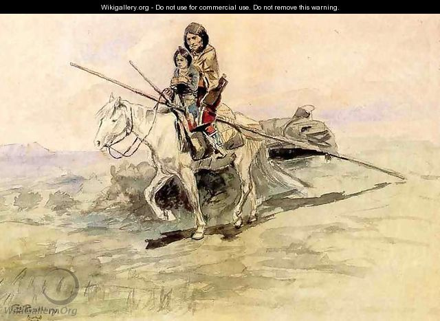 Indian on Horseback with a Child - Charles Marion Russell