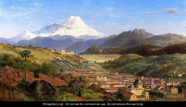 View of Riobamba, Ecuador, Looking North Towards Mount Chimborazo - Louis Remy Mignot