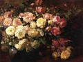 Still Life with White and Pink Roses - Franz Bischoff