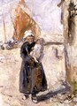 Mother and Baby on a Dutch Quay - Robert Gemmell Hutchison