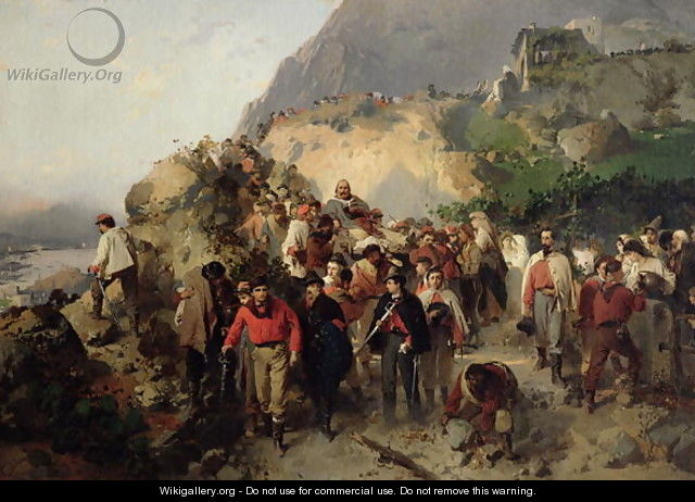 The Injured Garibaldi 1807-82 in the Aspromonte Mountains - Girolamo Induno