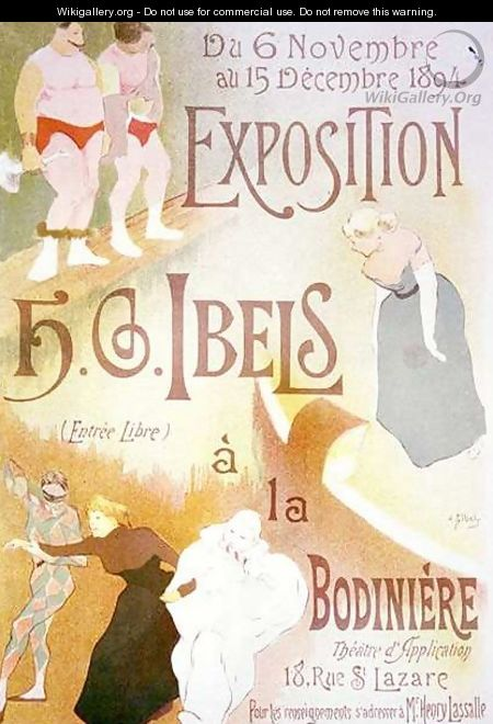 Reproduction of a poster advertising an Exhibition by H G Ibels at the Bodiniere Rue St Lazare Paris - Henri-Gabriel Ibels