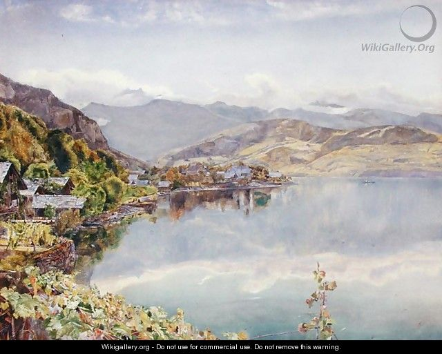 The Lake of Lucerne Mount Pilatus in the Distance - John William Inchbold