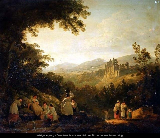 A Wooded Landscape with Washerwomen by a Fountain - Julius Caesar Ibbetson